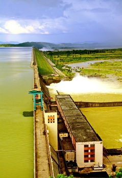 The Hirakud Dam after the release of the first flood water of the season this morning (Photo Courtesy: Ranjan Panda)
