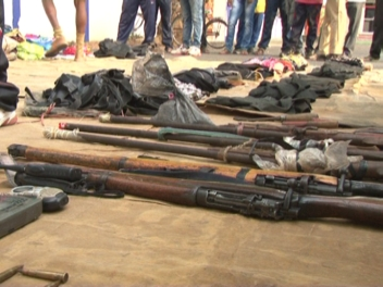Maoist arms and ammunition recovered from the site of the encounter (OST Photo)