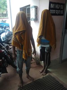 The two accused at the Nayapalli police station in Bhubaneswar (OST Photo)