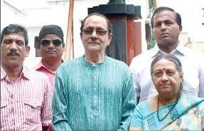 Netaji Subhash  Chandra Bose's great grandson Abhjit Roy and his wife Srabani at Netaji's birthplace in Cuttack on Wednesday