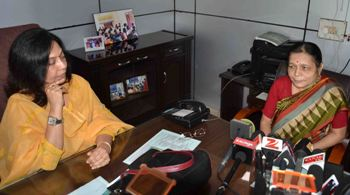 Indulata Das, wife of senior IAS officer Taradatt with Lopamudra Buxipatra, chairperson of the State Commission for Women on Tuesday (OST Photo)