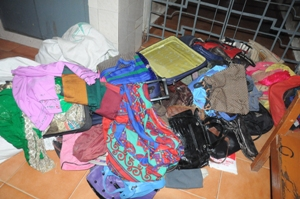 Goods seized during the raid at the residence of the kleptomaniac mother daughetr duo (OST Photo)