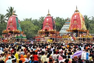 three chariots at Sri Gundicha temple in Puri