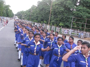 School children rehearsing for the Independence Day celebrations in Bhubaneswar on Saturday