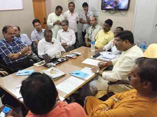 Union Petroleum and Natural Gas  Minister Dharmendra Pradhan in a meeting with Central team members at Sishu Bhavan in Cuttack