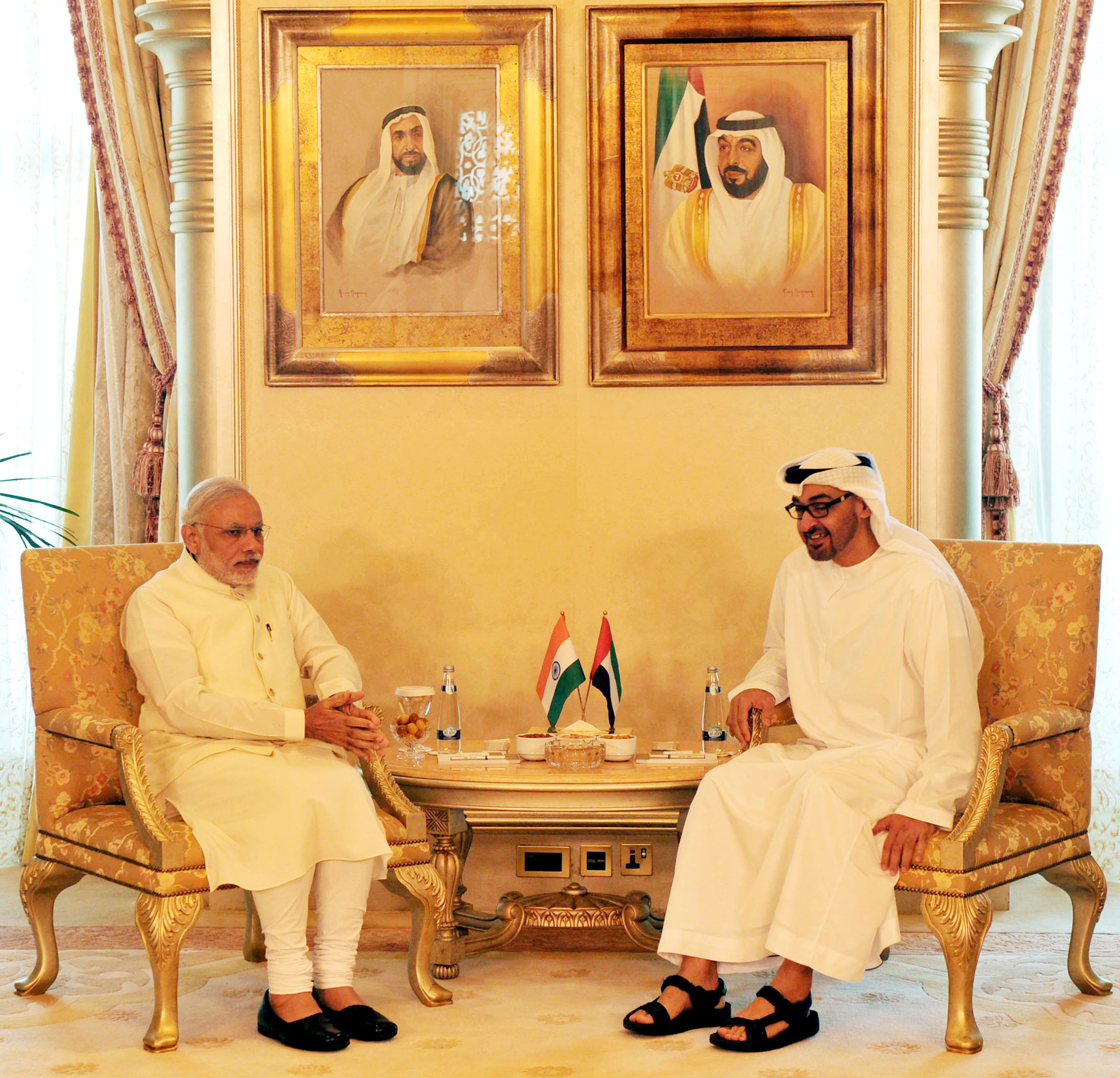 Prime Minister Narendra Modi with the Crown Prince of Abu Dhabi Sheikh Mohammed bin Zayed Al Nahyan in Abu Dhabi. Pic: OST