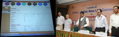 The Minister of State for Petroleum and Natural Gas (Independent Charge), Shri Dharmendra Pradhan launching the e-SV-Sahaj-Online release of LPG connections, in New Delhi on August 30, 2015. The Secretary, Ministry of Petroleum and Natural Gas, Shri K.D. Tripathi and other dignitaries are also seen.