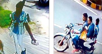 CCTV footage of the incident shows a youth with a crude bomb in hand (left) and three youths speeding away after hurlling bombs at OCA secretary Asirbad Behera's residence on Friday (right)