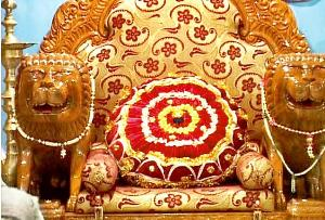 The simhasana on which Sarathi Baba used to sit while meeting his devotees