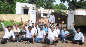 Block grant teachers demonstrating in front of an MLA's house in Bhubaneswar (OST Photo)