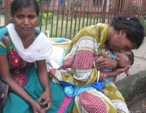 A mother grieving over her dead child at the Cuttack Sishu Bhavan on Monday