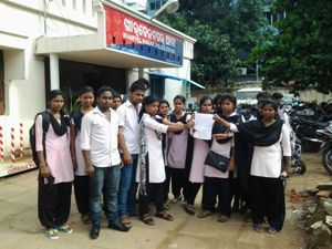 Students of Utkal Sangeet Mahavidyalay displaying the copy of the FIR they lodged against a teacher of the Drama department at the Kharavel Nagar police station on Saturday (OST Photo)