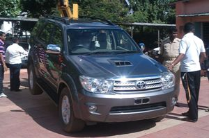 The Toyota Fortuner belonging to Sarathi Baba was found abandoned in the parking lot of Apollo Hospital in Bhubaneswar on Thursday (OST Photo)