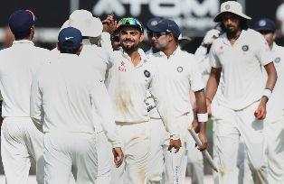 Team India celebrates Test series win against Sri Lanka