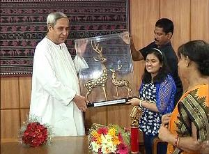 ananya felicitated by cm