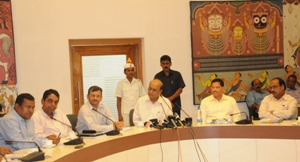 Chief secretary Gokul Chandra Pati briefing reporters after the cabinet meeting on Wednesday (OST Photo)