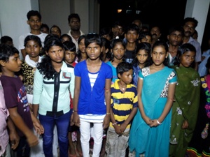 Dalit students who were at the receiving end of an alleged casteist remark by a teacher in their school at the Kendarapara SP office to lodge their complaint