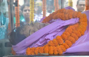 The body of Dr Swetapadma Mishra being taken in an ambulance to Puri for cremation on Tuesday (OST photo)