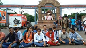 Protests broke out almost immediately after the decision to cancel students' union election this year was announced by Utkal University authorities on Thursday afternoon (OST Photo)