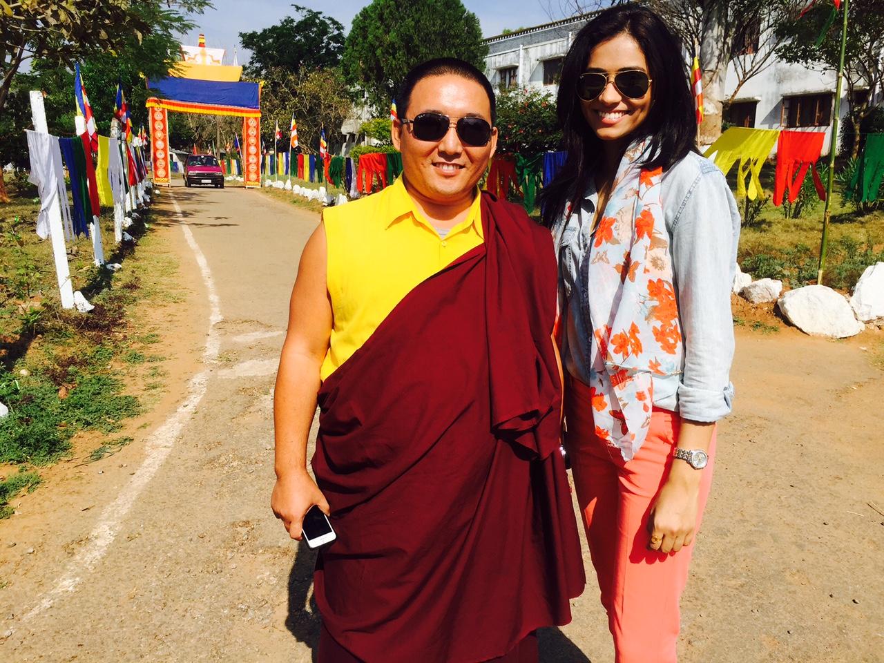 Pic_Khenpo Pama (administrator of monastery) with Gurleen Grewal