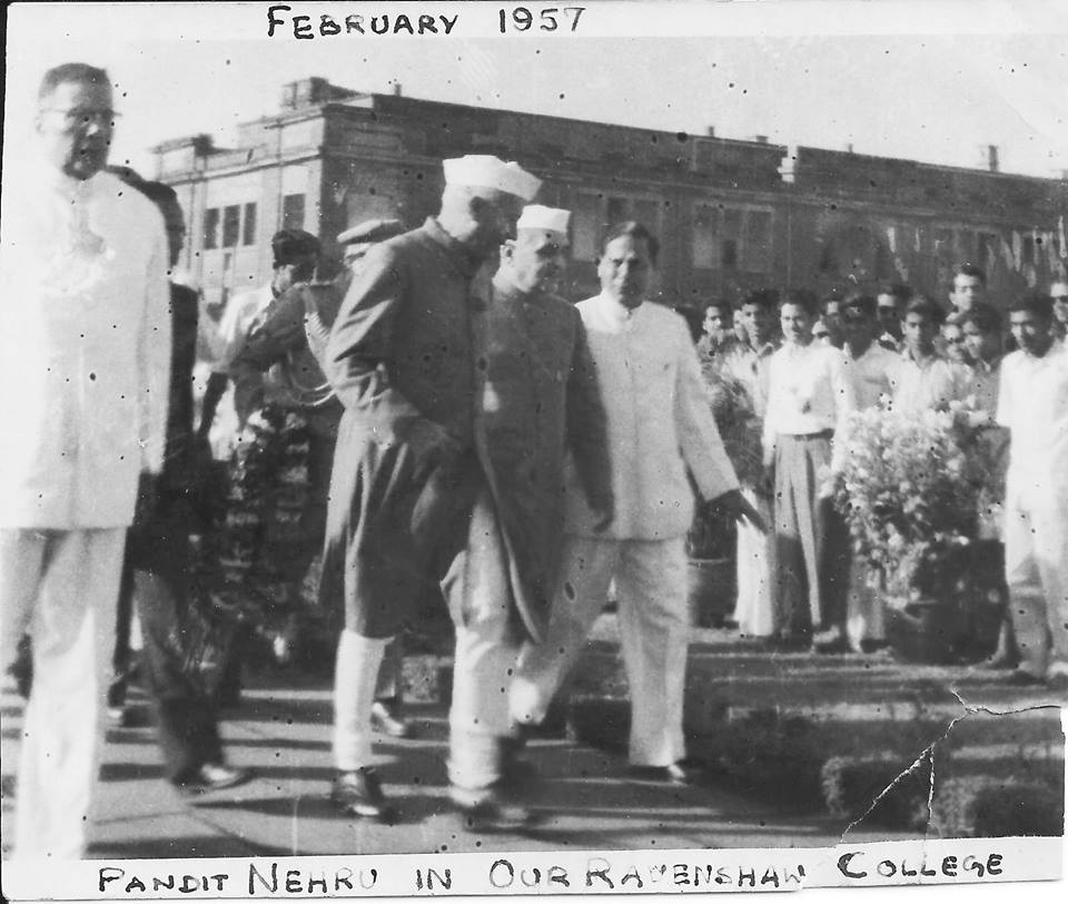 From Left to Right Dr Harekrishna Mehatab, Pandit Nehru, Governor Bhimsen Kochar and Principal Prof. Bama Charan Das