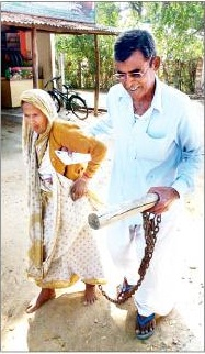 woman chained by son