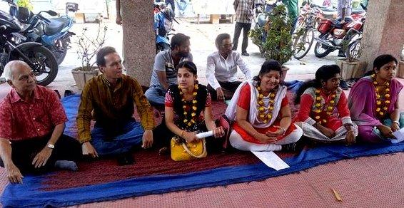Jyoti Vihar students on dharna