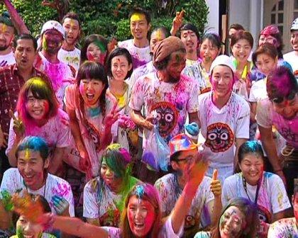 japan tourists holi
