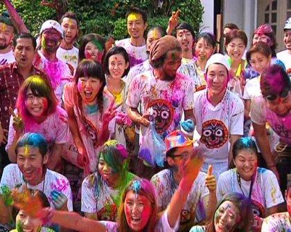 japan tourists holi