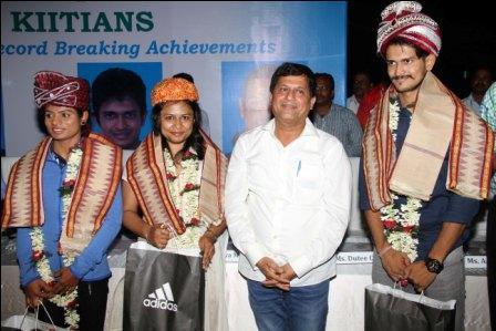 Dutee, Amiya and Aparajita felicitated in Odisha's KIIT