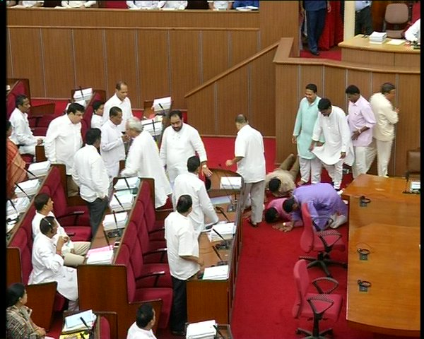 SC ST MLAs prostrate before CM in Odisha Assembly