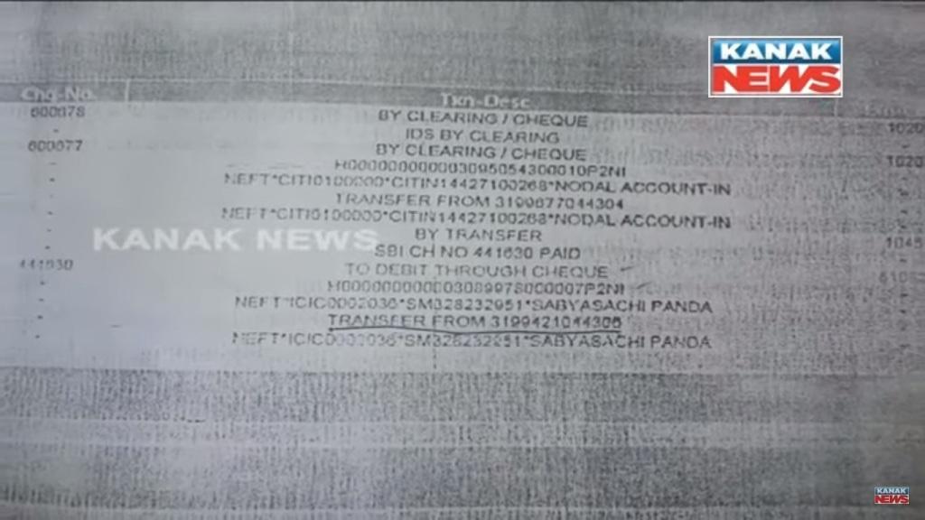 Braja Tripathy sabyasachi Panda BJD money transfer