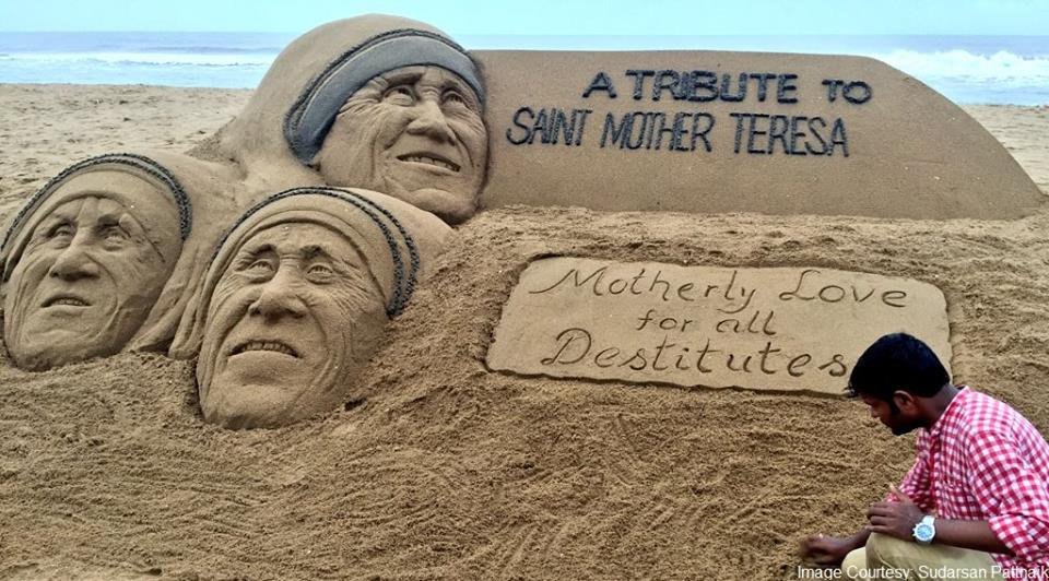 Sand art on Mother Teresa