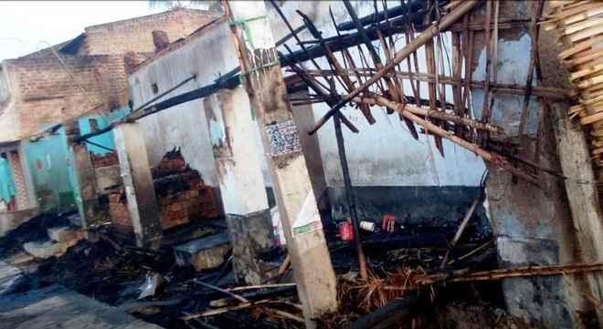 poll violence house on fire