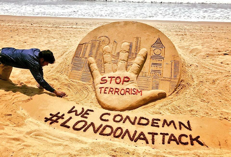 london attack sand art