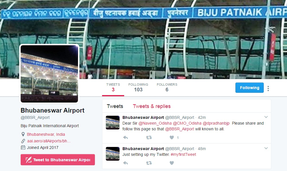 BBSR airport twitter page