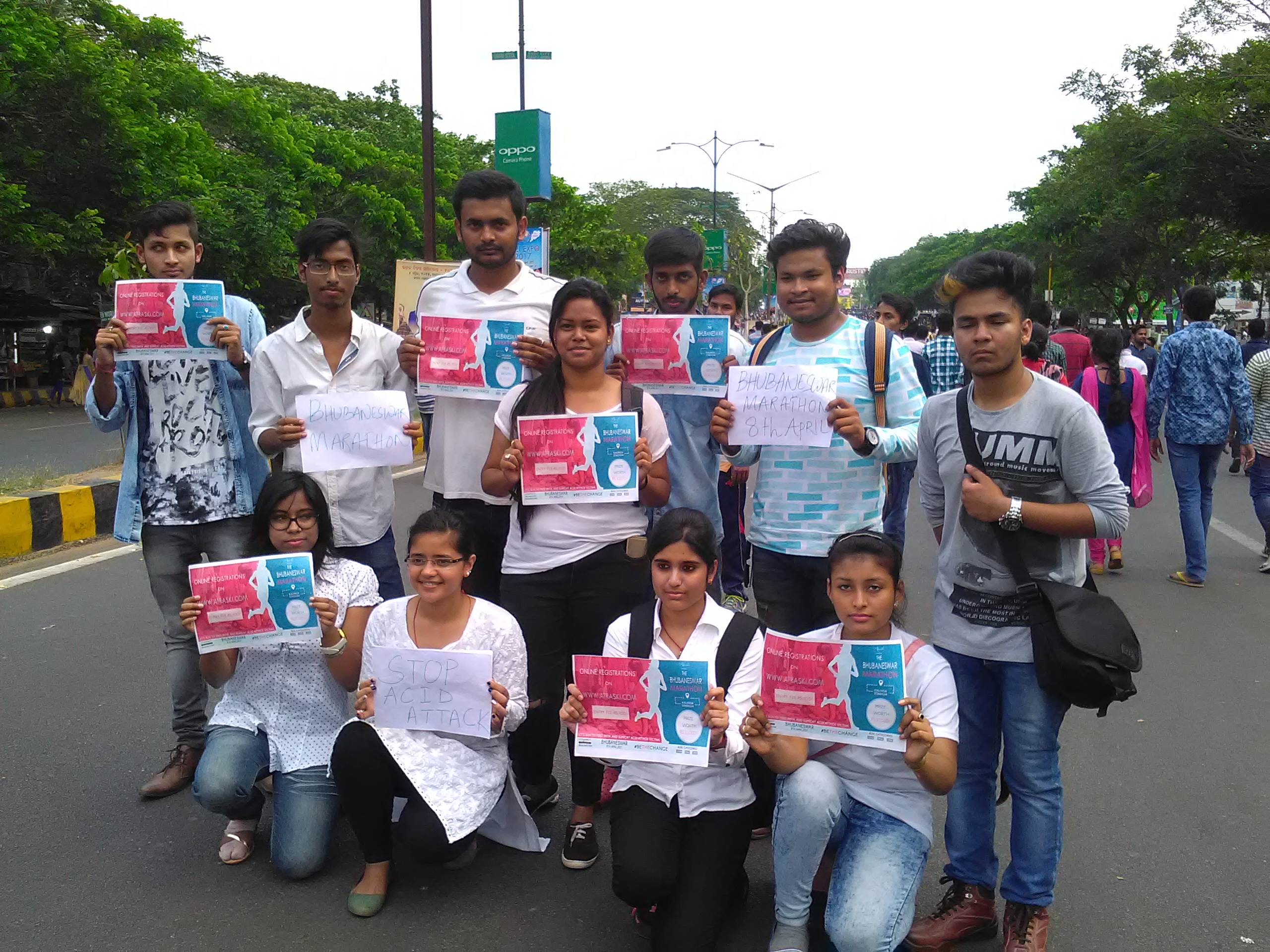 Students of KIIT University creating an awareness on acid attack vicitims