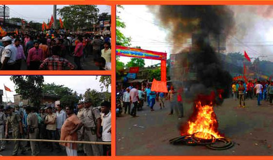 Odisha security forces hold flag march in violence-hit Bhadrak