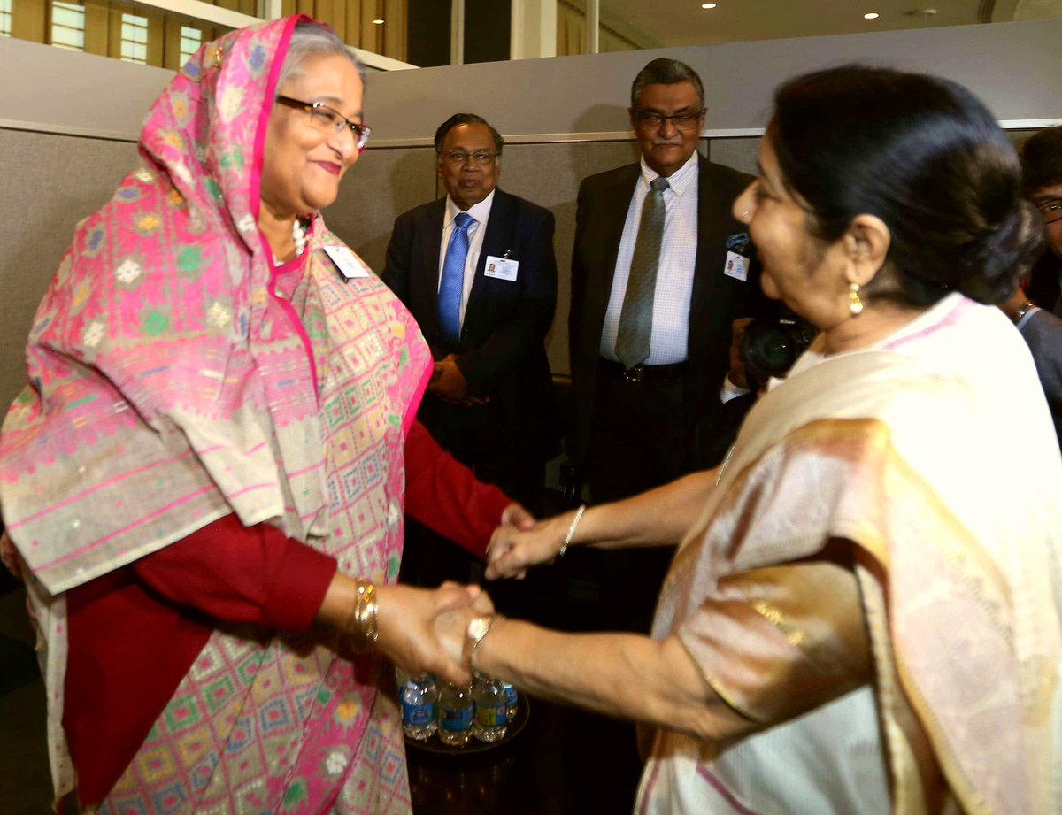 External Affairs Minister Sushma Swaraj meet PM's of Bhutan & Bangladesh