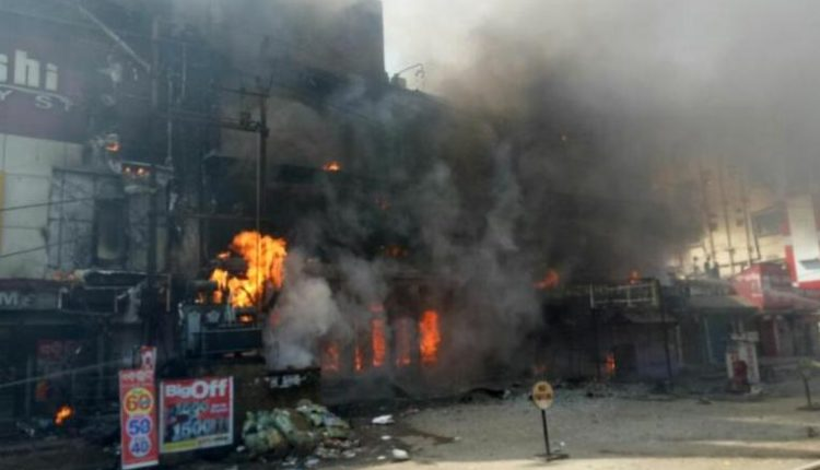 Major Fire in garment showroom in Cuttack