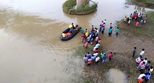 paradip truck falls into river