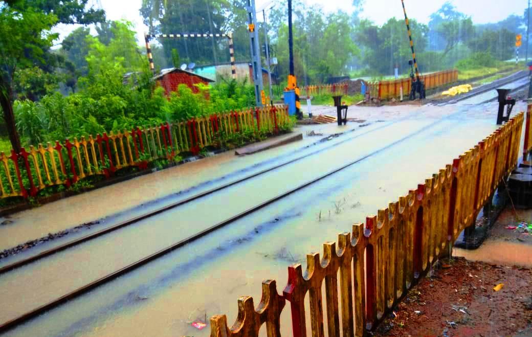 rail tracks waterlogged