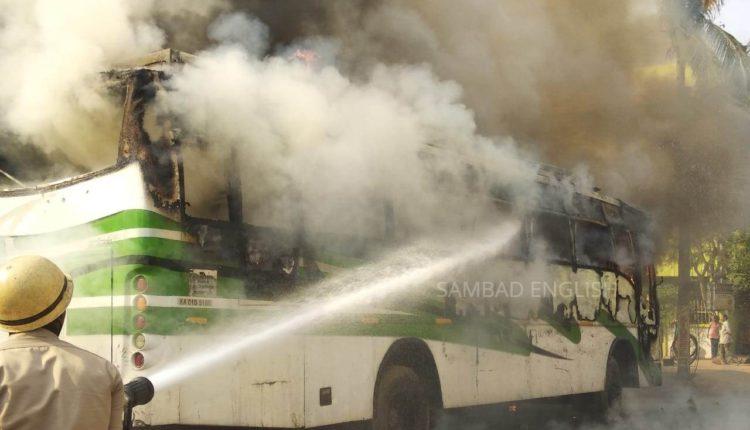 bus fire bhubaneswar