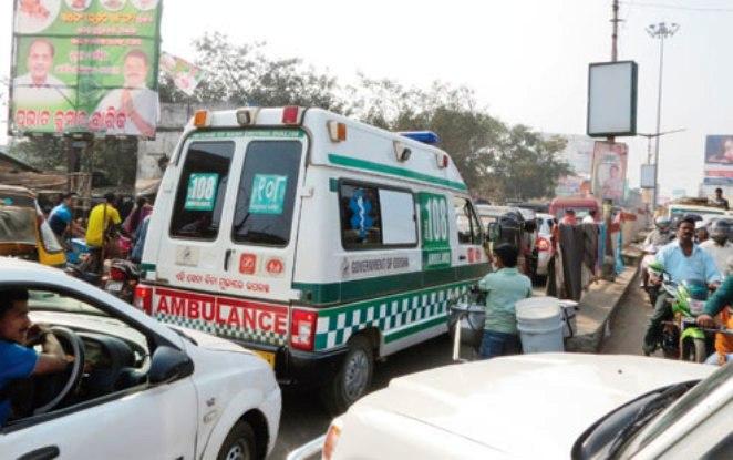 ambulance in traffic jam