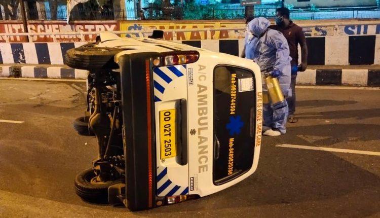 ambulance overturns
