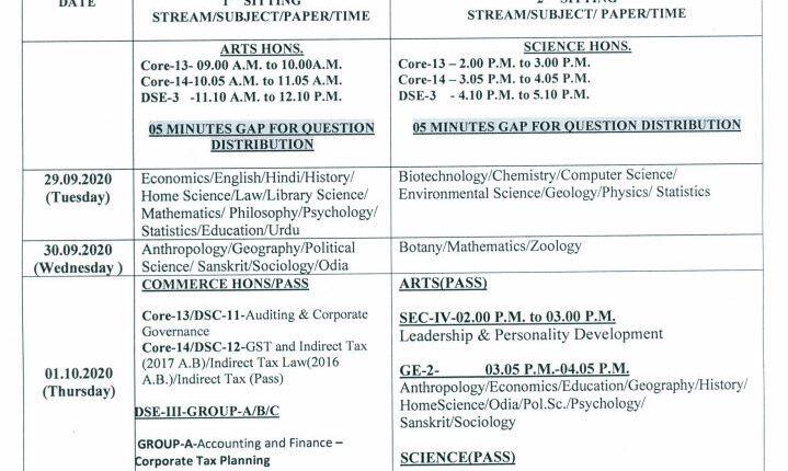 Utkal university exam scehdule 1