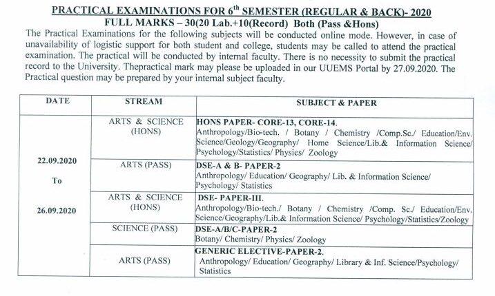 Utkal university exam scehdule 3