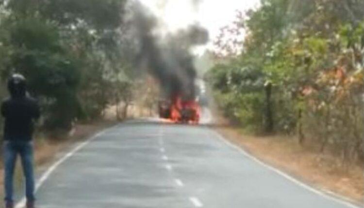 car catches fire nabarangpur