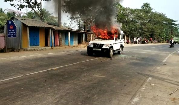 police vehicle on fire