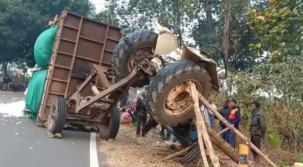 tractor overturns